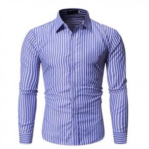 0553 Blue Striped Formal Casual Long-Sleeved Shirt