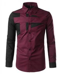 0589 Business Red Maroon Formal Long Sleeve Shirt