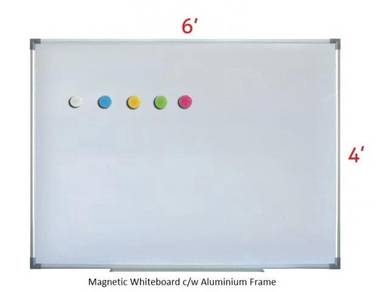 Magnetic Whiteboard 4'x6'~Siap Pasang White board