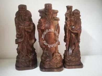 Fu Lu Shou Wood Statue 福祿壽,