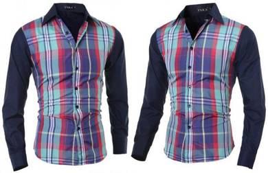 J0572 Blue Green Plaid Formal Long Sleeve Shirt