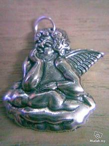 ABPSM-A002 Silver Metal Angel Pendant Necklace