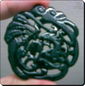 ABPJ-H001 Black Green Jade Carved Running Deer