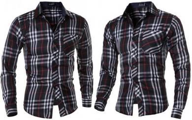 J70311 Hot Classic Black Plaid Long Sleeve Shirt