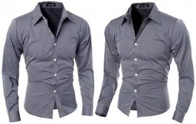 J5298 Black Vertical Stripe Mens Long Sleeve Shirt