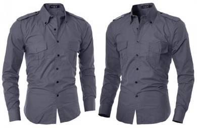J05115 Grey Cool Dual Pocket Long Sleeve Shirt