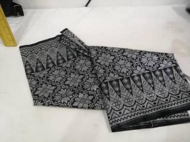 Sampin Songket 2meter warna hitam sulam silver