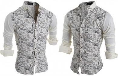 J02486 Floral Flower Formal Mens Long Sleeve Shirt