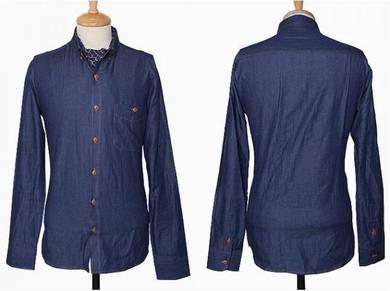 J05046 Dark Blue Denim Formal Long Sleeve Shirt