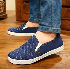 JA0248 Blue Simple Slip Ons Loafers Casual Shoes
