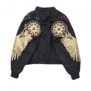 Black gold wings embroidery two way bomber jacket