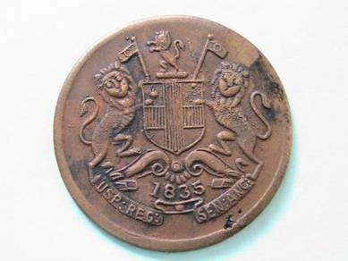 East India Company Half Anna 1835 (Kod : A4281)