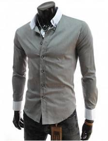 J0586 Kemeja Lengan Panjang Kelabu Formal Shirt