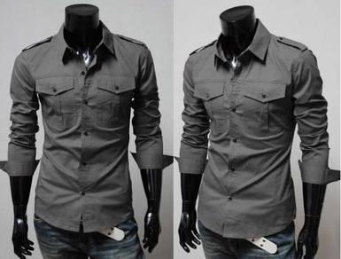 J0555 Grey Epaulet Two Pocket Long Sleeve Shirts
