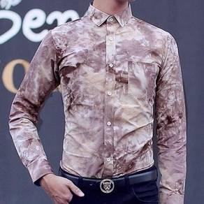 J76504 Kemeja Lengan Panjang Floral Coklat Shirt