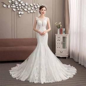 White mermaid wedding bridal gown dress RB1195