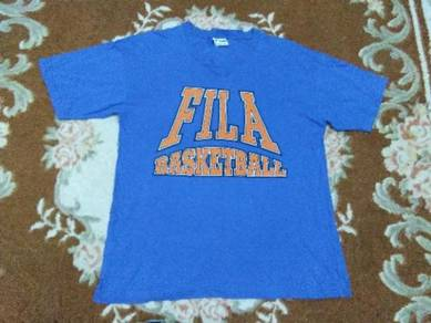 FILA V NECK t shirt basketball size L made in usa