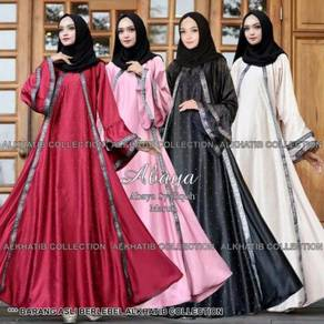 Alkhatib collection Satin Silk Abaya long sleeve