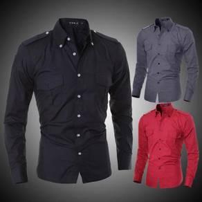 J5115 Black Man Cool Dual Pocket Long Sleeve Shirt
