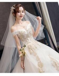 Gold white fishtail wedding bridal gown RB1197