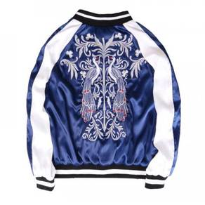 Peacock embroidery two way bomber jacket