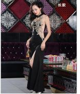Black gold slit bodycon mermaid prom party dress