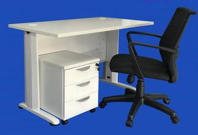 Home & office table, pedestal & chair set -bg