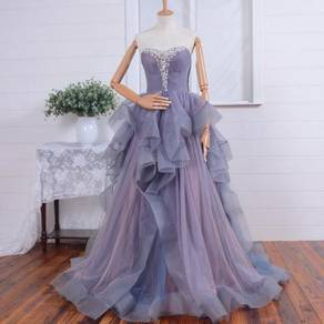 Purple bridal wedding gown dinner dress