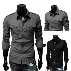 J0555 Grey Epaulette Men Formal Long Sleeve Shirt