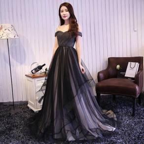 Black white wedding dress gown bridal dinner