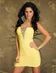 CW171-2 Sexy Yellow Ruffle Mini Dress Club Wear