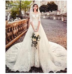 White long sleeve mermaid wedding gown RB1190