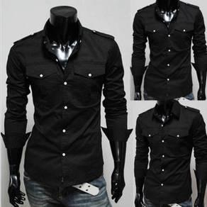 J0555 Black Epaulette Men Formal Long Sleeve Shirt