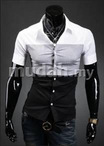 Korean layer style colors stripe shortsleeve shirt