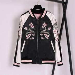 Pink black flower embroidery two way bomber jacket
