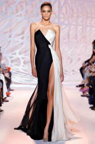 Black white slit wedding prom gown dress RBP1076
