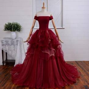 Red wine bridal wedding dress gown prom dinner