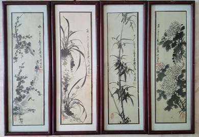 Wall paintings with wooden lacquered framed