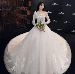White long sleeve wedding bridal gown RB1189