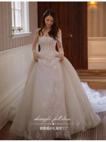 White long sleeve wedding bridal gown RB1194