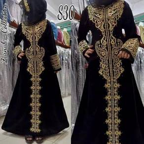 Abaya long sleeve Muslimah cream white gold black
