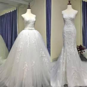 White detachable train wedding gown dress RB1191