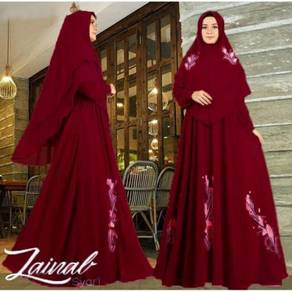 Zainal Syari set maxi dress hijab long sleeve