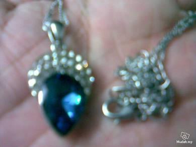 ABPSM-C020 Deep Blue Crystal CedarNut Silver Neckl