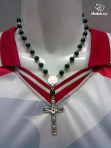 ABPSM-C019 Silver Cross Black Beads Chain Necklace