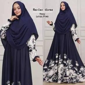 Maxi dress long sleeve Muslimah max alzena blue
