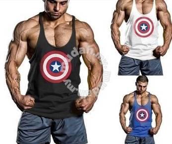Captain America Gym Singlet baju gym fitness sport