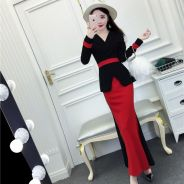 Black red green long sleeve formal dress RBP0696
