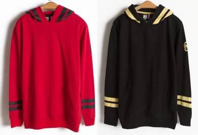 J0119 Hoodie Red Black Sweatshirt Pullover Sweater