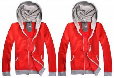 J0319 Retro Red Grey Hoodies Sweater Hoody Jacket